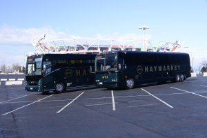 Two Black Luxury Coach Buses Haymarket Transportation