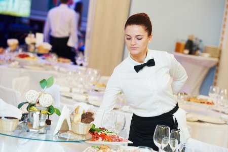 Hotel staff serving at an event